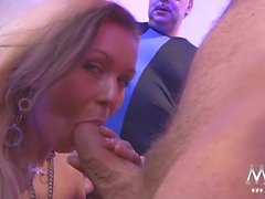 Milf gangbang girl gives head and gets pounded