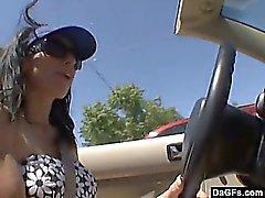 Busty milf's Pervert car ride