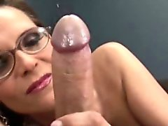 Tugjob loving spex milf works his cock