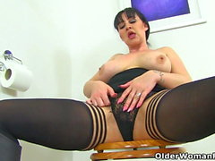 British milf Amber Leigh needs to get off in bathroom