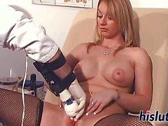 Kinky Aline rides a fuck machine