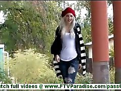 Layden hot blonde milf with big tits flashing ass and flashing tits and stroking pussy in public