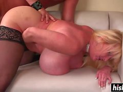 Busty MILF in stockings gets fucked