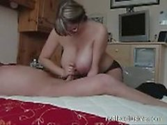 Great handjob from my Busty Wife