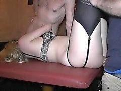 Hot blonde wife gets banged by multiple guys