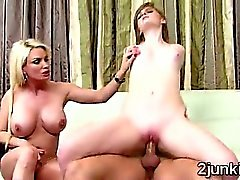 Gorgeous big booed MILF trains hot teen with the help of husband