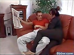 Tabea - Kinky Mature Brunette Fucks in the Couch - 8bbw