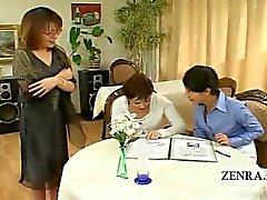 Subtitled CFNM Japanese milfs find penis milking cafe