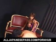 Itsuka doll touches stiffy with feet in fishnets and sucks it