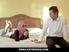 FamilyStrokes - Busty Arabian Wife Rides Cock In Hijab