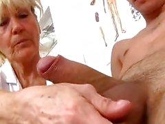 Cfnm handjob at sperm clinic with hot legs grandma Hana
