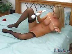 Hot blonde MILF in glasses vibrates her twat and sucks his cock POV