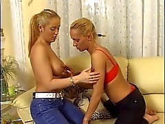 Hot blonde lesbians lick tits in the sofa