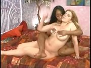 Black and White Big Boobed Lesbians Play on the Bed..