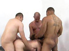 Three guys get to bang a hot milf