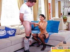 Selfassured Not-Mama Lezley Zen In Stockings Wants Extreme Dick