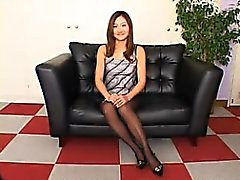 Elegant Japanese wife in black pantyhose shows off her wond