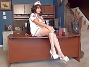 Samantha Legs wearing FF stockings and 6 inch heels.