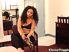 Nubian beauty tugging hard dick