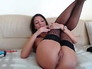 Mom in stockings plays with 2 toys