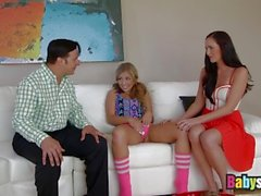 Facial finish threesome with teen babysitter and hot MILF