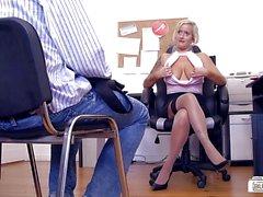 BUMS BUERO - German MILF in office MMF threesome