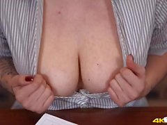 Naughty teacher takes out her titties for you
