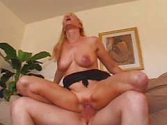 MILF bitch shaved fucking younger guy
