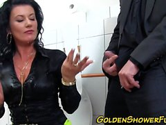Pissing slut gets cumshot