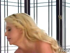 Big boobed blonde masseur plays with clients huge dick