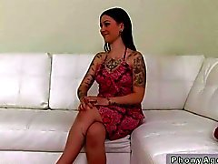 Tattooed milf fucking on casting