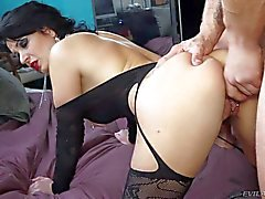 Pale black haired milf gets demolished by Nacho Vandal