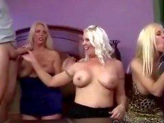 3 cockstarving platinum blonde MILFs go naughty sucking 2 big bones