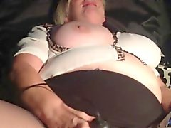 Fat Blonde MILF masturbates with toys