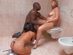 Natural titted babes get a fat black dick in their butts
