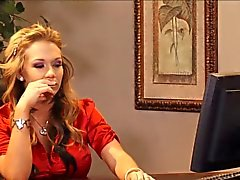 Blonde Office Milf In Frilly Red Satin Blouse Fucked