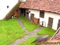 Goldenshower whore cummed