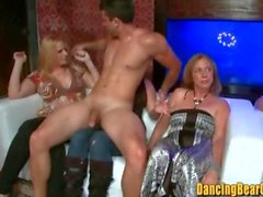 Sexy Party Girls Sucking on Multiple Stripper Dicks