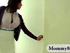Gorgeous stepmom caught young couple pounding and joins them