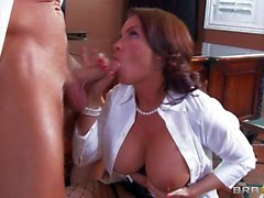 Horny brunette Diamond gets slammed in office