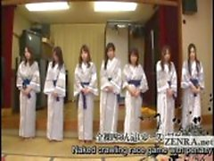 Subtitled group of Japanese milfs strip for racing game
