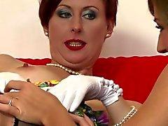 Classy matures lesbian oral pleasuring