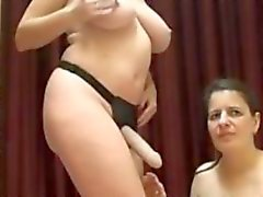 Lesbian milfs strap on fuck live webcam show is nasty