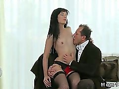 Small tits brunette MILF in sexy stockings fucking