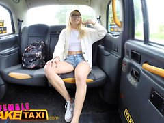 Female Fake Taxi Petite blonde student with hairy pussy