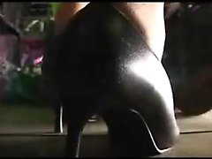 Masked Oriental babe with sexy slim legs learns a lesson in