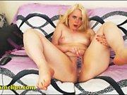 Blonde milf jerks off a lucky guys pecker
