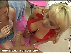 Mom and teen daughter blow cock together