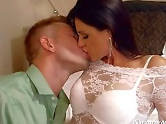 Arousing white lace on cocksucking milf India Summer