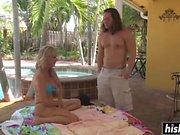 Jodi West gets slammed by the pool
